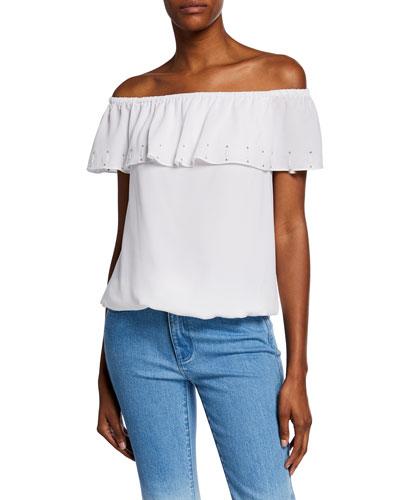 Off-Shoulder Short-Sleeve Ruffle Top