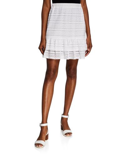 Eyelet Lace Mini Ruffle Skirt