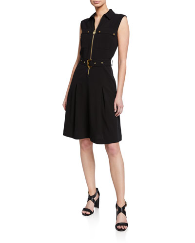 Lock Zip Sleeveless Belted Shirtdress