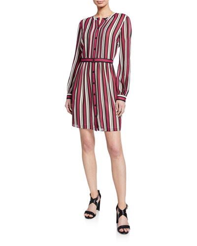 Striped Button-Down Long-Sleeve Pintuck Shirtdress