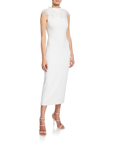 e8639ac394efc Quick Look. Badgley Mischka Collection · Feather Mock-Neck Sleeveless  Faille Sheath Dress