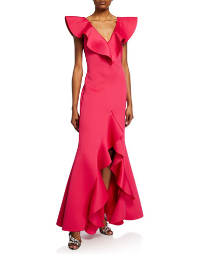 V-Neck Scuba High-Low Ruffle Gown