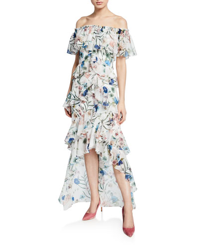 5a7de6c708f Quick Look. Badgley Mischka Collection · Floral-Print Off-the-Shoulder High- Low Tiered Ruffle Dress