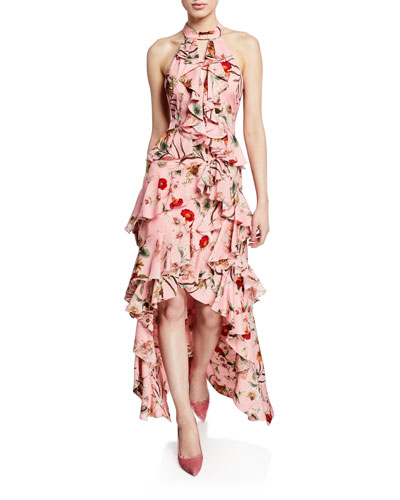 496934b3dd0 Quick Look. Badgley Mischka Collection · Floral-Print High-Low Tiered Ruffle  Halter Gown