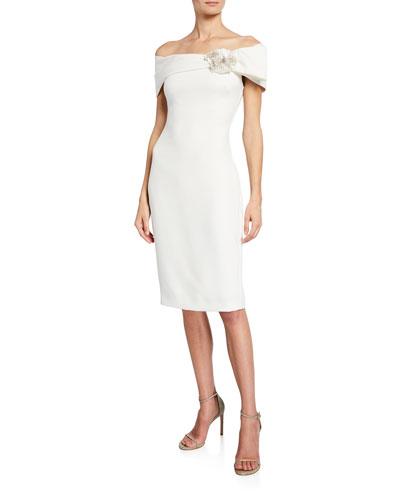 eaeca743 Quick Look. Badgley Mischka Collection · Off-the-Shoulder Short-Sleeve Sheath  Dress w/ Flower Detail