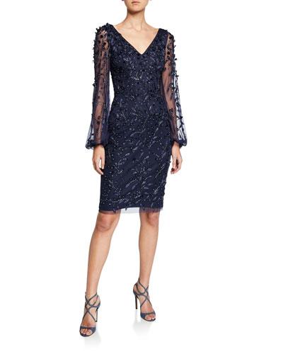 Beaded Petal Embellished V-Neck Lantern-Sleeve Sheath Dress