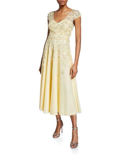 V-Neck Cap-Sleeve Beaded Floral Embellished Tulle Dress