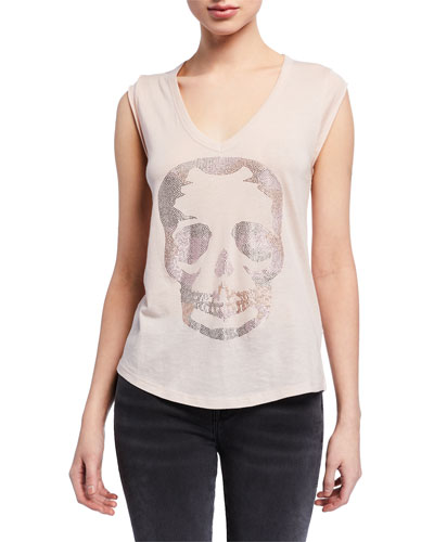 Brooklyn Embellished Skull V-Neck Sleeveless Tee