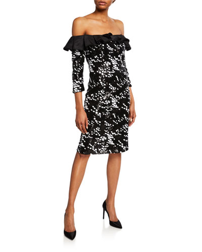 Dotted Off-the-Shoulder 3/4-Sleeve Sheath Dress with Ruffle Detail