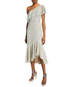 Aidan Mattox Beaded One-Shoulder High-Low Midi Dress
