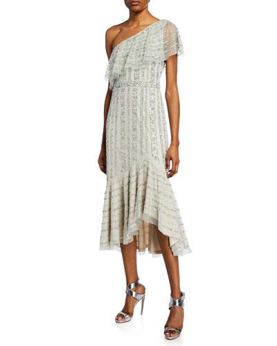Beaded One-Shoulder High-Low Midi Dress