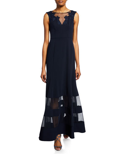 Bateau-Neck Sleeveless A-Line Illusion Gown w/ Mesh Insets