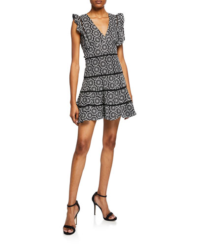 Sierra Printed Frill Dress w/ Lace