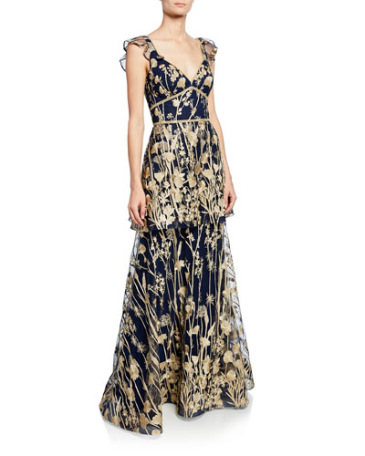 e82a80bcb227 Quick Look. Marchesa Notte · V-Neck Sleeveless Tiered Floral-Embroidered  Gown ...