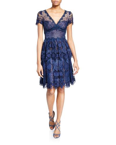 V-Neck Short-Sleeve Floral Eyelet Organza & Scalloped Guipure Lace Dress
