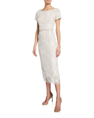 5d12c1b537e3a Quick Look. Marchesa Notte · Short-Sleeve Metallic Floral Embroidered  Sheath Dress w  Beaded Trim