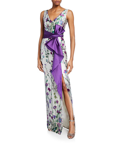 7b73d53aeb0f Quick Look. Marchesa Notte · Floral-Print V-Neck Sleeveless Mikado Gown ...