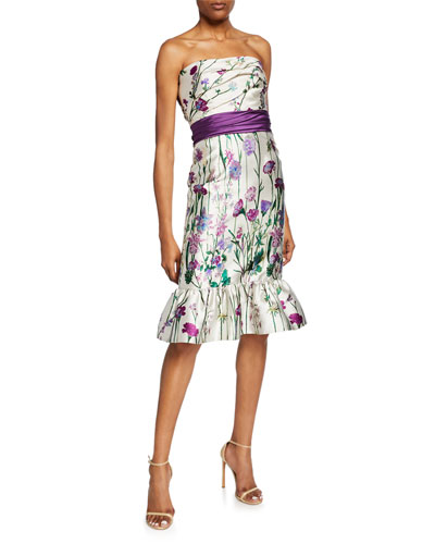 95406339ee5 Quick Look. Marchesa Notte · Floral-Print Strapless Mikado Dress ...