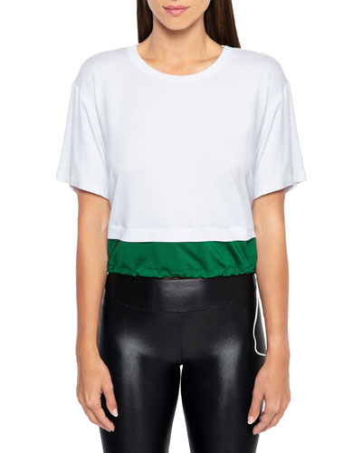 Bora Brisa Twofer Cropped Drawstring T-Shirt