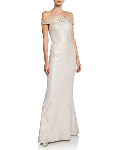 Metallic Jacquard Off-the-Shoulder Short-Sleeve Gown w/ Beaded Bodice