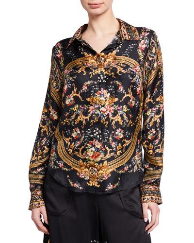 Slim Fit Printed Silk Long-Sleeve Shirt