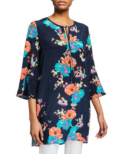 Astrid Floral-Print 3/4-Sleeve Tunic