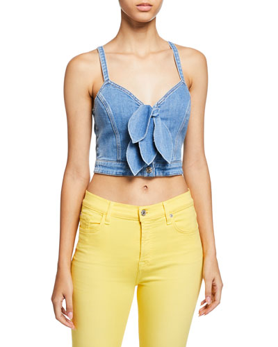 Cropped Double Tie-Front Denim Bustier