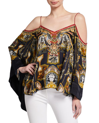 49b6d09babe75 Quick Look. Camilla · Printed Flare-Sleeve Cold-Shoulder Top