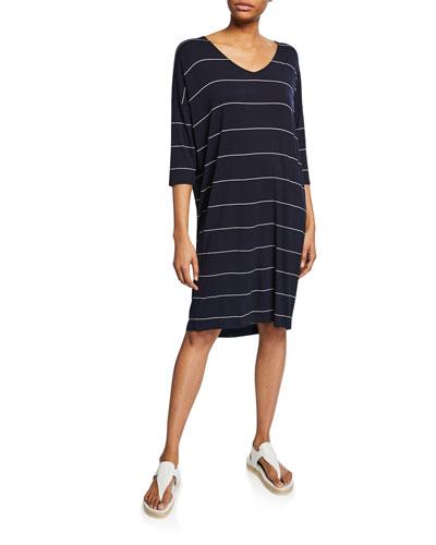 Nebine Striped V-Neck 3/4-Sleeve Jersey Dress
