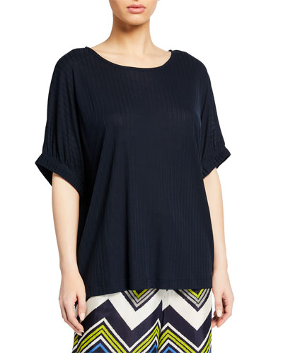 Delia Boat-Neck Half-Sleeve Jersey Top