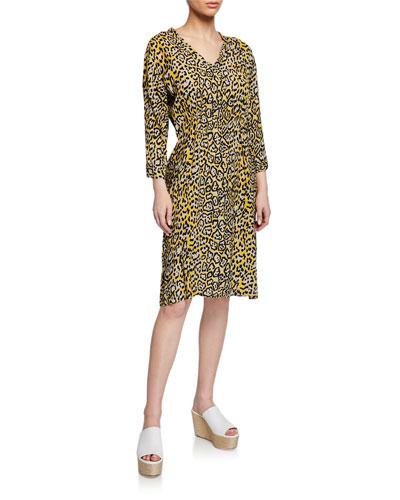 Nancy Leopard-Print V-Neck 3/4-Sleeve Dress