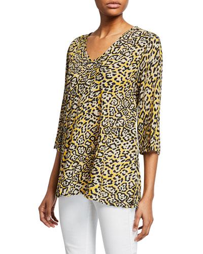 Kata Sunny Leopard-Print V-Neck 3/4-Sleeve Top