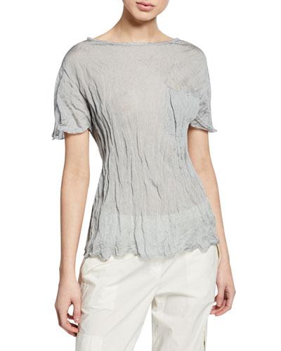 High-Neck Short-Sleeve Metallic Crepe Pocket Top
