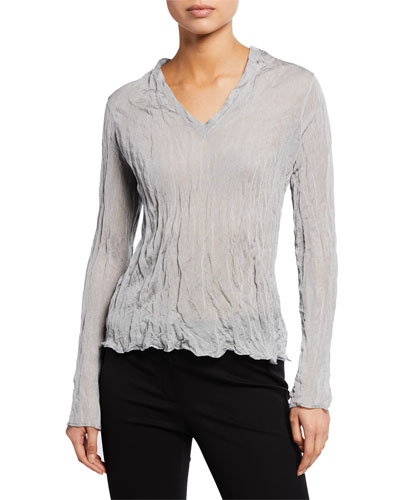 Crinkle V-Neck Long-Sleeve Metallic Crepe Top