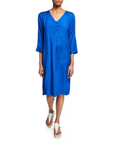 Nahia V-Neck 3/4-Sleeve Shift Dress