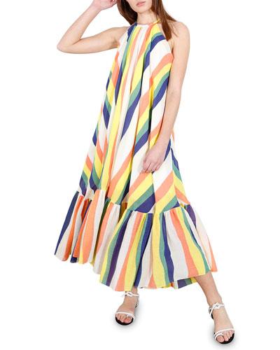 Orly Striped Halter Long Dress