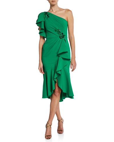 f520b0876c5c7 Quick Look. Marchesa Notte · One-Shoulder Ruffle-Sleeve Crepe Dress ...