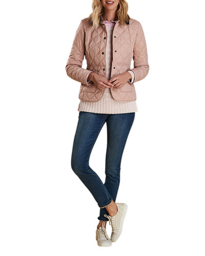 Deveron Box-Quilted Jacket w/ Corduroy Collar