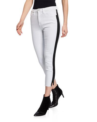 High-Rise Full-Zip Skinny Jeans with Raw Hem