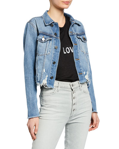 Cropped Denim Jacket with Zippers