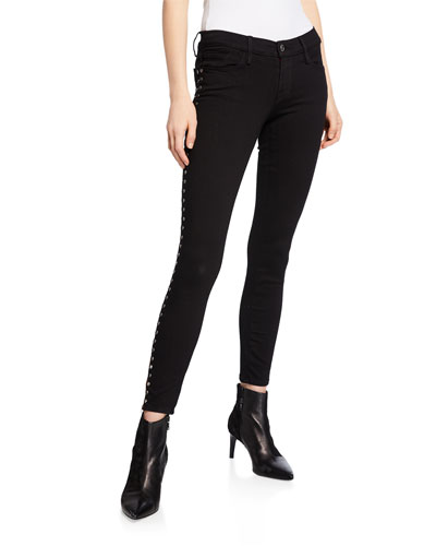 High-Rise Tuxedo Studded Straight Jeans
