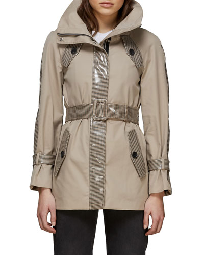 Iva Belted Water-Resistant Jacket w/ Combo Trim