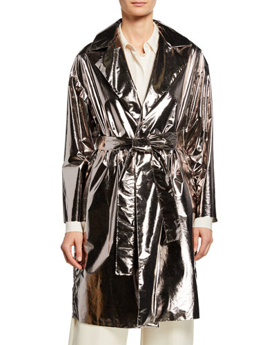 Laminated Drop-Shoulder Coat w/ Belt