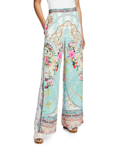 Wide-Leg Printed Pants with Side Pleat