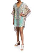 Camilla Printed V-Neck Kaftan w/ Ruffle Sleeves