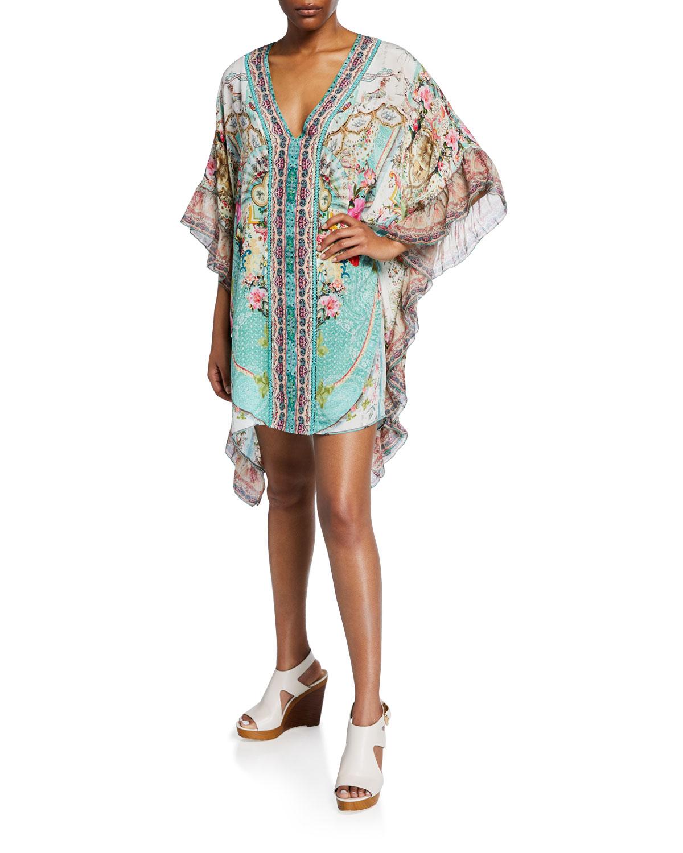 Camilla Tops Printed V-Neck Kaftan w/ Ruffle Sleeves