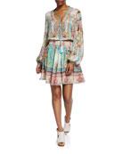 Camilla Short Shirred Printed Long-Sleeve Dress
