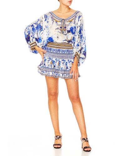 Shirred Silk Printed Short Skirt