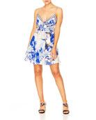 Camilla Printed Tie-Front Sleeveless Mini Dress