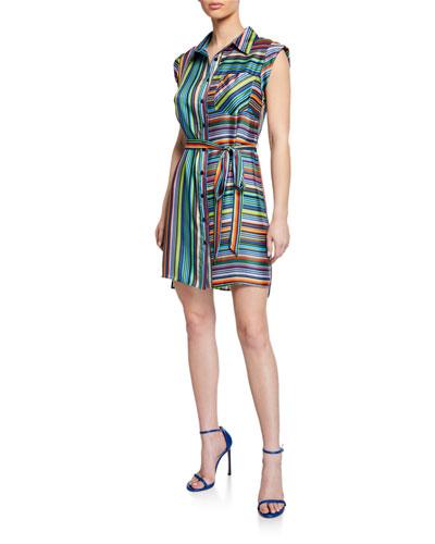 Rainbow Stripes Sleeveless Twill Shirtdress